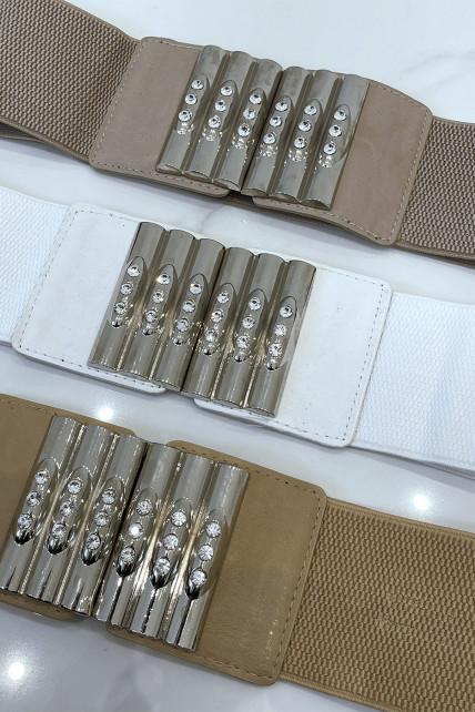 Ceinture taupe en tissus stretch large et boucle à empiècements simili cuir , argent et strass
