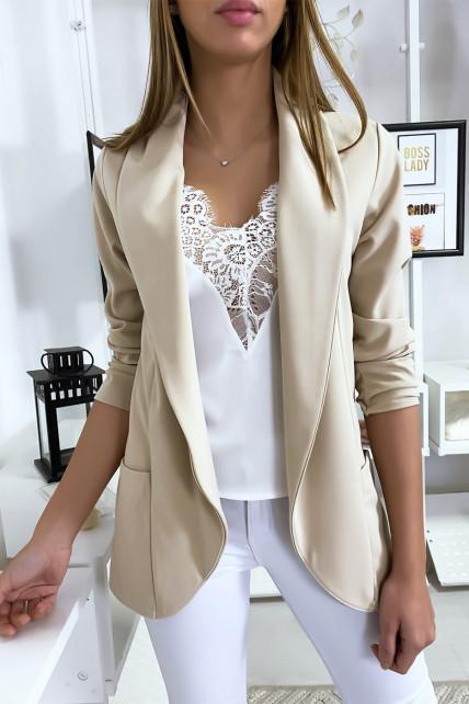 Veste Blazer beige col châle avec poches. Blazer femme 1526